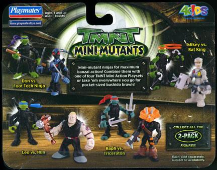 Playmates 2007 Tmnt Mini Mutants 2 Pack Michelangelo Vs Rat